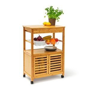 Relaxdays 10019162 Küchenrollwagen James ♥  Schublade ♥ 1 x Korbzum Entnehmen ♥  Ablagen ♥Schranktüren ♥ Küchenwagen auf Rollen ♥ 10 kg