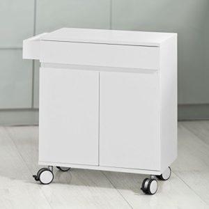 SoBuy Küchenwagen Weiß ♥ 1 x Geschirrschränke ♥ 1 x Schublade ♥ 1 x Seitenregal ♥ Küchenwagen aus Holz ♥ 15 kg