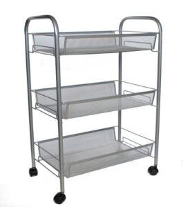 Zeller 17720 Küchenrollwagen Mesh | 3 x rausnehmbare Körbe | 4 x Rollen