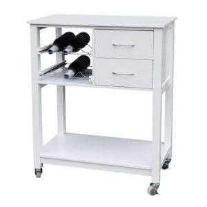 Premier Housewares Rollwagen für die Küche ♥  ♥ Rollwagen ♥ 2 x Schubladen ♥ 2 x Flaschenablagen ♥ 1 x Brett ♥ Küchenwagen Weiß ♥ 14 kg