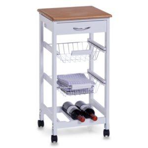 Zeller 13773 Küchenrollwagen ♥ 1 x Schublade ♥ 2 x Drahtkörbe ♥ 1 Flaschenboden für 3 Flaschen ♥ Küchenwagen Weiß ♥ 7 kg