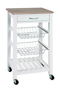 HAKU Möbel 40329 Küchenwagen   ♥ 2 x ausziehbare Körben in Chrom ♥ zusätzliche Ablage ♥ Küchenwagen Weiß ♥ 9,72 kg