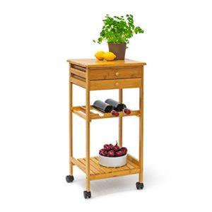 Relaxdays 10019163 Küchenrollwagen James ♥  Weinregal, ♥ Schublade ♥ Ablage  ♥ Küchenwagen mit Schubladen ♥ 7,2 kg