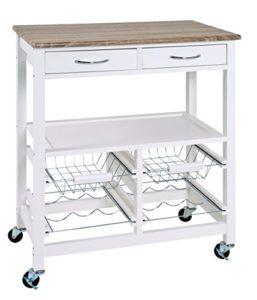 HAKU Möbel 40331 Küchenwagen ♥   2 x Körbe ♥ 1 x Ablage ♥ 2  x Flaschenhalter ♥ 2 x Schubladen ♥ Küchenwagen Weiß Holz ♥ 13,68 kg