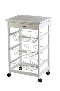 Archimede Küchenwagen Weiß ♥ 1 x Schneidebrett ♥ 3 x Ausziebare Körbe ♥ 1 x Schublade ♥ Küchenwagen Weiß ♥ 7 kg