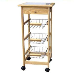 Holz Küchenwagen auf Rollen mit Schublade ♥  ♥ Holz Küchenwagen  ♥ 1 x Schublade mit Griff  ♥ 3 x Schubkörbe mit Griff ♥ Küchenwagen auf Rollen ♥