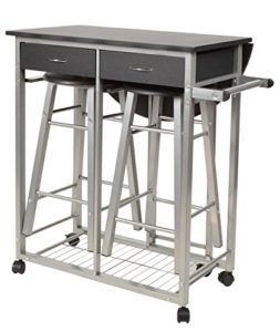 Küchenservierwagen - ts-ideen 3er Set Essgruppe Esstisch ♥ 2 x Hocker ♥ 1 x Handtuchhalter ♥ 2 x Schubladen ♥ Küchenwagen mit Hocker ♥ 18,3 kg