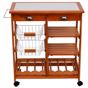 Küchenwagen aus Holz ♥ Ablagefächer ♥ Schubladen mit Metallgriff ♥  Schubkörbe mit Holzgriff ♥ 10,5 kg