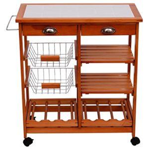 Küchenservierwagen - Küchenwagen - Mit viel Stauraum - homcom 05-0020 Küchenwagen, Holz, naturfarben