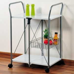 Kesper 25702 Küchenwagen klappbar aus Metall ♥ 2 x  große Ablageflächen ♥ 1 x Korb ♥ Küchenwagen klappbar ♥
