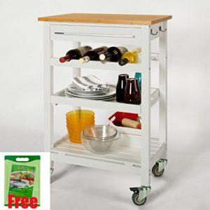 SoBuy  Küchenwagen mit Tischplatte aus Bambus  ♥ 1 x Schublade ♥ 1 x Tablett ♥ 1 x Flaschenablage für vier Flaschen ♥ 2 x Handtuchhaken ♥ 1 x Regalboden ♥ 12 kg