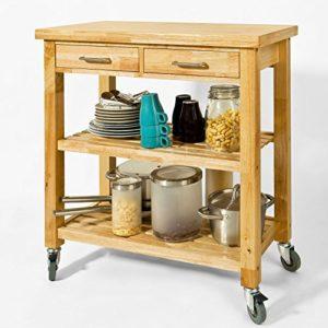 SoBuy Küchenwagen Holz aus Kautschukholz ♥ Servierwagen ♥ 2 x Fächer ♥ 2 x Schubladen  ♥ 20 kg