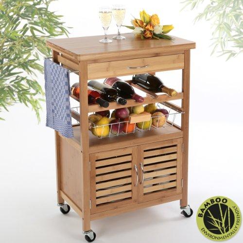 KÜCHENWAGEN BAMBUS — Torrex 39459 Küchenwagen - Servierwagen - Küchentrolley aus Bambus