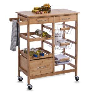 Zeller 13775 Küchenwagen aus Holz  ♥  Geschirrtuchhalter ♥  Flaschenhaltern ♥ Schubladen ♥  Gitterkörbe ♥  13 kg