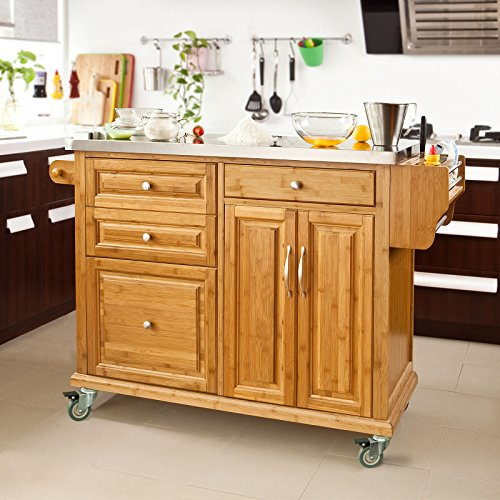 KÜCHENWAGEN BAMBUS — SoBuy Luxus-Küchenwagen aus hochwertigem Bambus mit Edelstahlarbeitsplatte