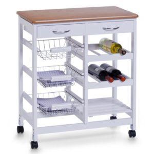 Zeller 13774 Küchenwagen Weiß ♥   2 ausziehbare Schublade ♥ 3 Drahtkörbe ♥ 2 Flaschenböden für 6 Flaschen ♥ 1 Ablagefach