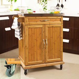 SoBuy Küchenwagen Holz Massiv aus hochwertigem Bambus mit Edelstahltop ♥  Schublade ♥ Geschirrschrank ♥ Handtuchhalter ♥  23 kg
