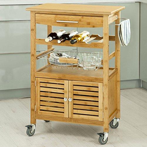 KÜCHENWAGEN BAMBUS — SoBuy H92cm Servierwagen aus hochwertigem Bambus,Küchenwagen,Küchenregal