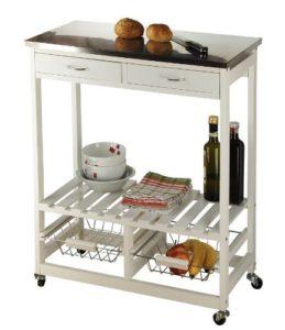 My Home Küchenrollwagen ♥ Küchenrollwagen ♥ 2 x Schubladen ♥ 1 x Ablagefach ♥2 x Metall-Einhänge-Körbe ♥ Küchenwagen Weiß ♥ 8 kg