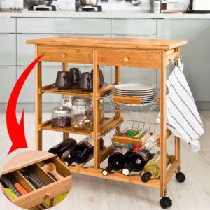 SoBuy XXL Küchenwagen aus Holz aus hochwertigem Bambus ♥ Schubladen ♥  Gitterkörbe ♥  Regalböden ♥ Flaschenablage  ♥ 12 kg
